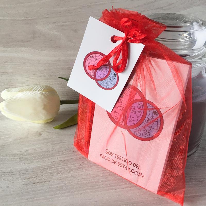 Libreta modelo Boda con bolígrafo, bolsa y etiqueta de regalo