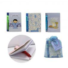 Libreta de comunión en bolsa de organza y etiqueta