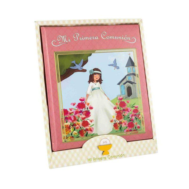 Libro de comunión modelo chica en paisaje. Presentado en caja. 29x24cm