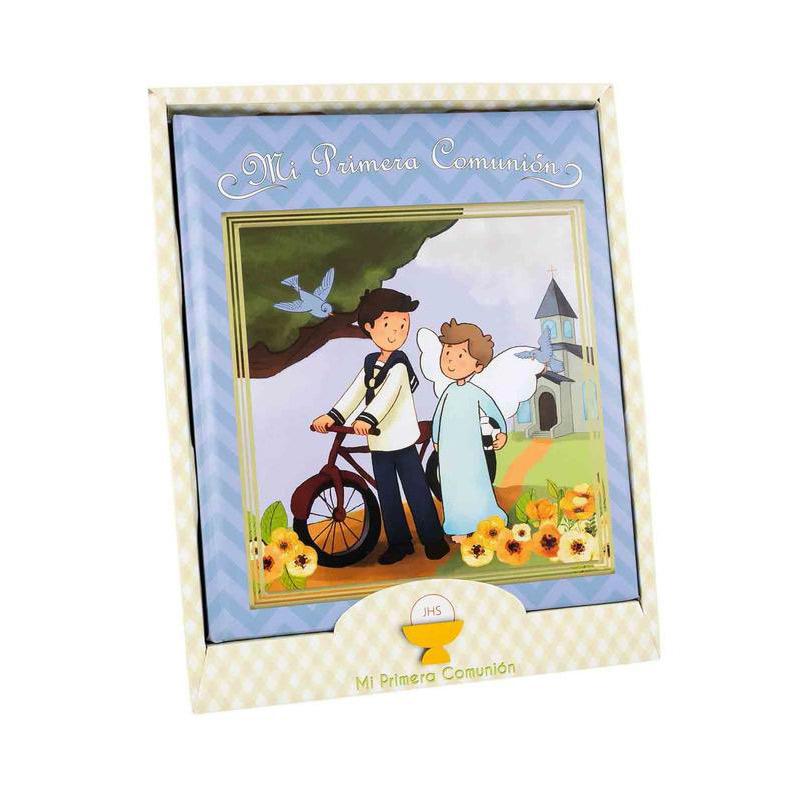 Libro de comunión modelo chico en bicicleta. Presentado en caja. 29x24cm