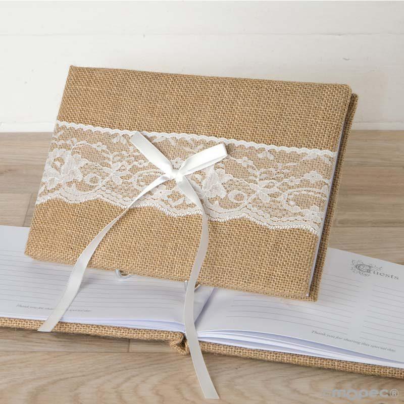 Libro de firmas jute con puntilla y lazo