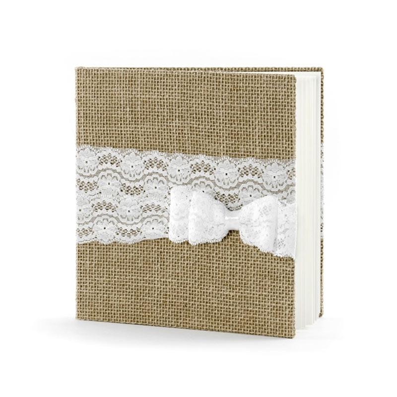 Libro de firmas Lazo de encaje blanco