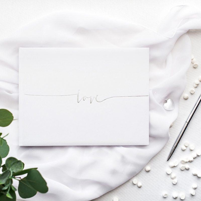 Libro de firmas Love, plateado.
