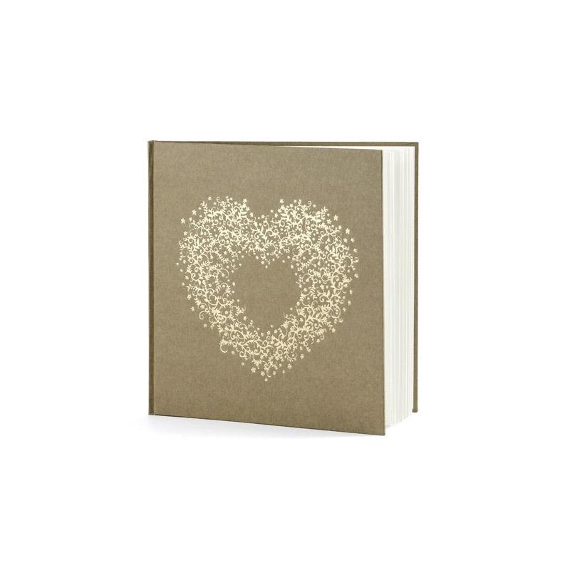 Libro de firmas Kraft y Corazón dorado