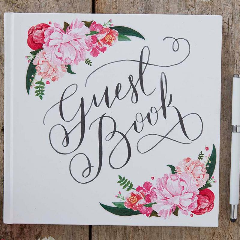 Libro de firmas. Flores boho. 21,5 x 21,5cm. 32 páginas.