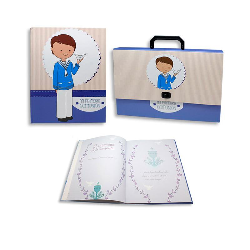 Set maletín y libro de recuerdos de comunión azul. 32x24,5cm.