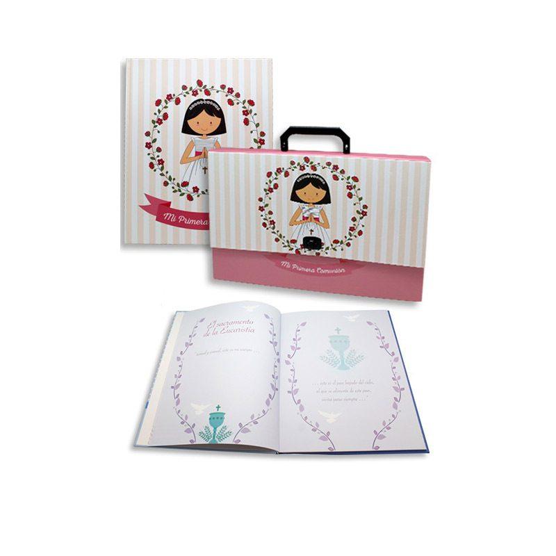 Set maletín y libro de recuerdos de comunión chica y flores. 32x24,5cm.