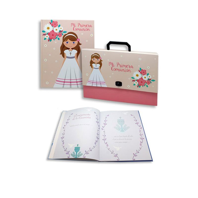 Set maletín y libro de recuerdos de comunión chica. 32x24,5cm.