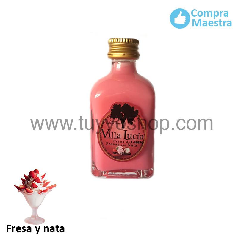 Licor Mini 50 ml sabor fresas con nata de Villa Lucía