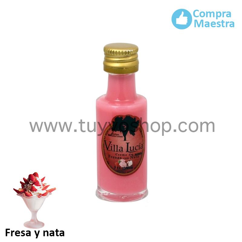 Botella de orujo en formato mini y sabor fresa y nata