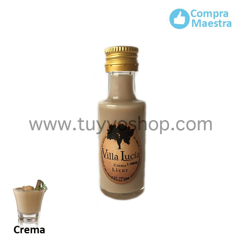 Botella de orujo mini redonda, 20ml, sabor Crema licor orujo mini mini crema