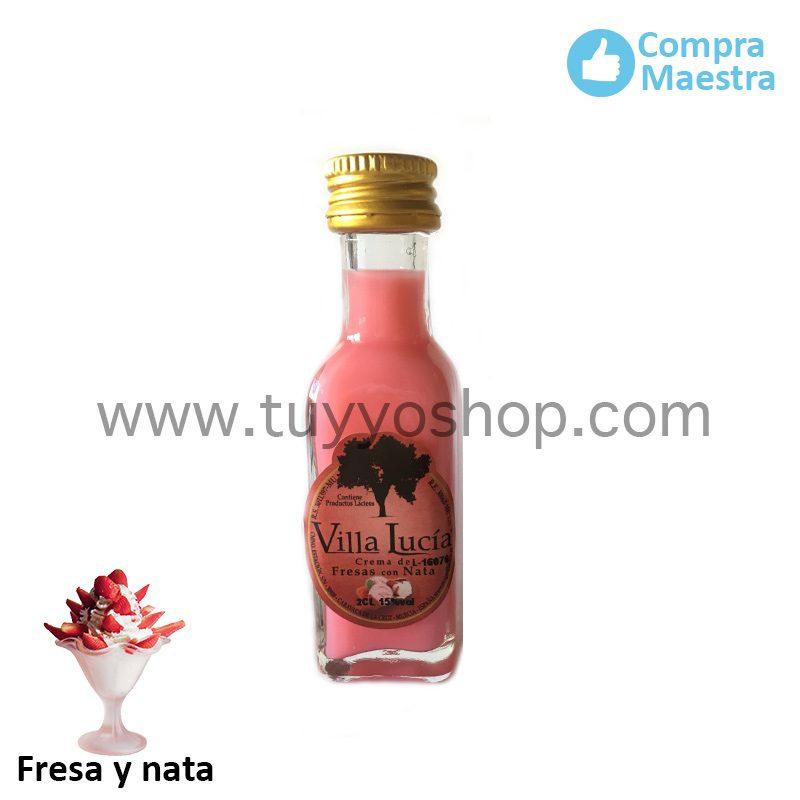 Botella de orujo mini cuadrada, 20ml, sabor fresa y nata licor orujo mini mini cuadrada fresa