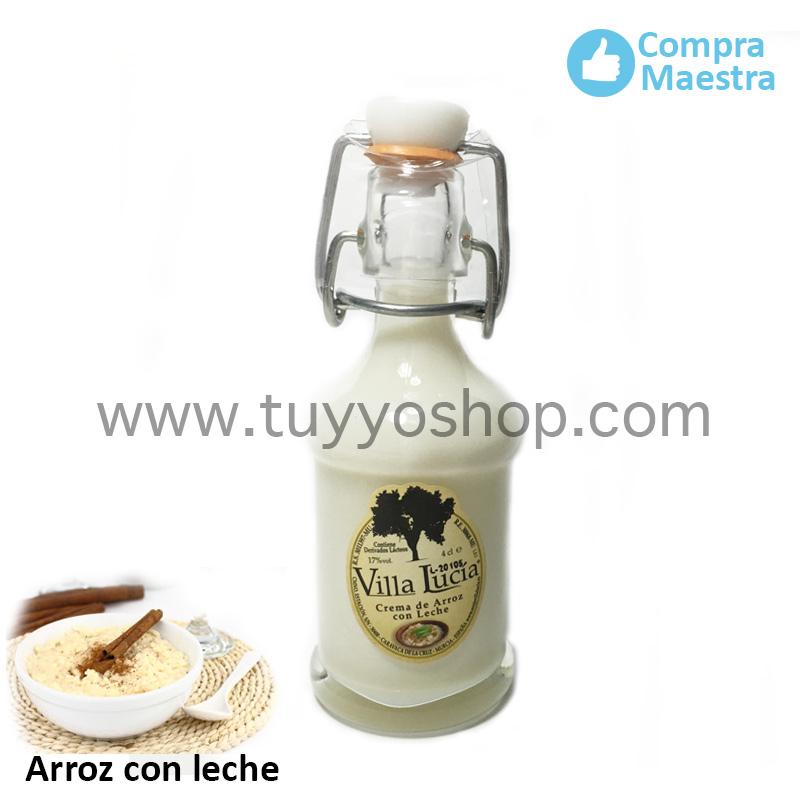 Licor de orujo para boda Villa Lucía, modelo sifón en sabor arroz con leche