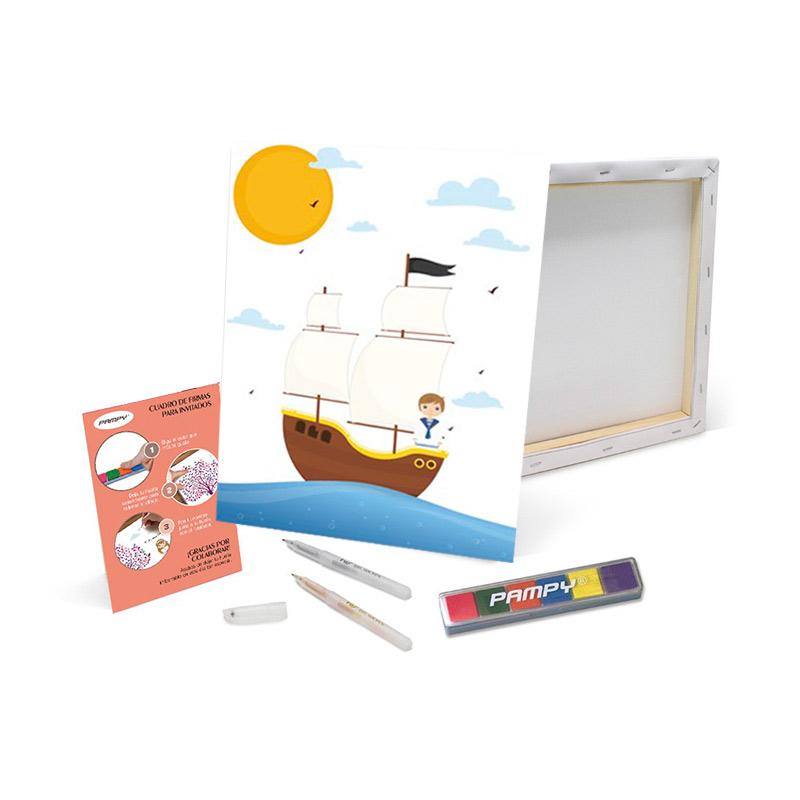 Lienzo de huellas Primera Comunión Barco. 40x30cm. Incluye bolígrafos y tinta.