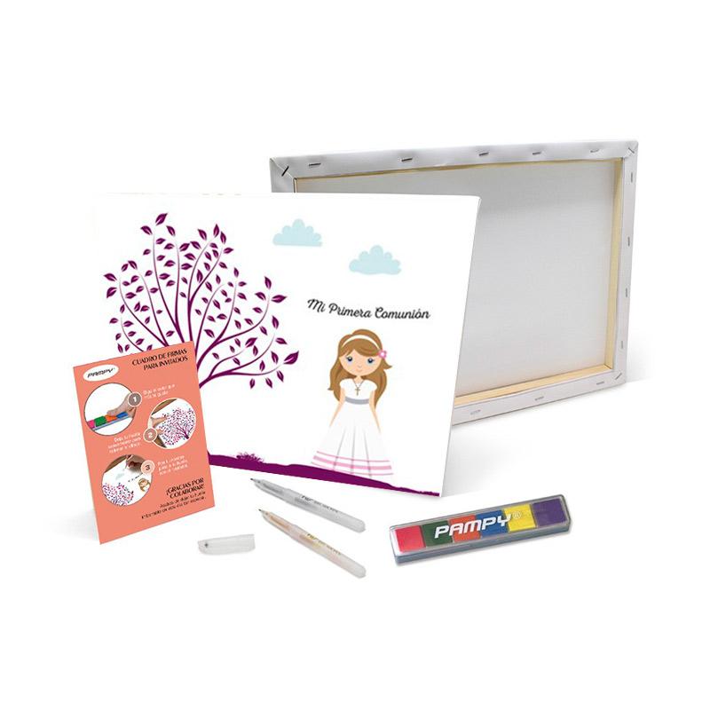 Lienzo de huellas Primera Comunión Chica. 40x30cm. Incluye bolígrafos y tinta.