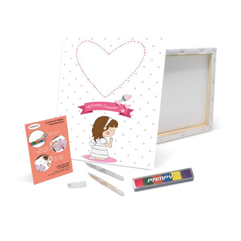 Lienzo de huellas Primera Comunión Chica Rezando. 40x30cm. Incluye bolígrafos y tinta.