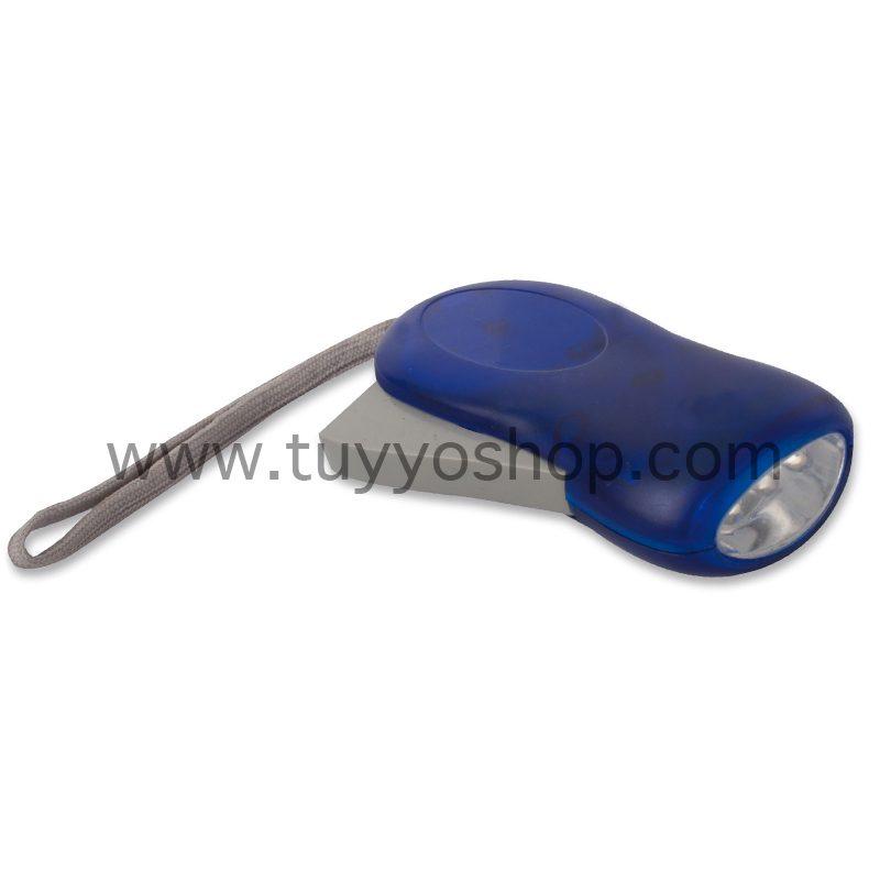 Linterna led con dinamo manual en color azul