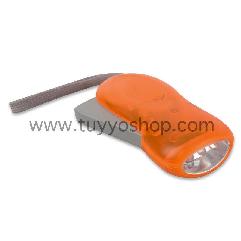 Linterna led con dinamo manual en color naranja