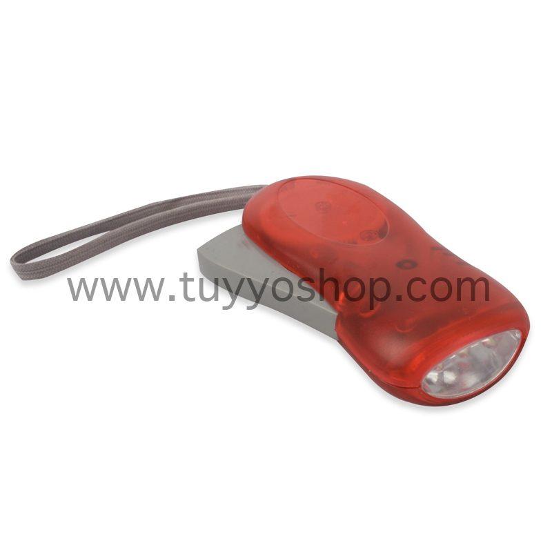 Linterna led con dinamo manual en color rojo