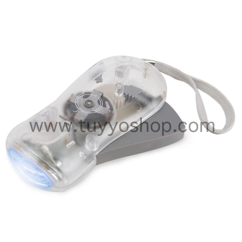 Linterna led con dinamo manual en color transparente
