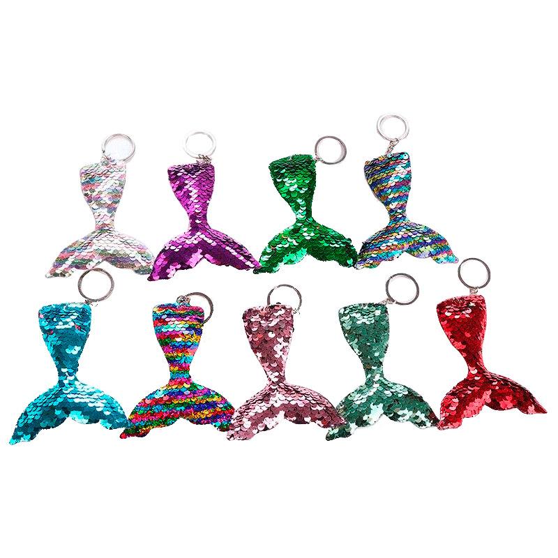 Llavero con lentejuelas. Cola de sirena. 9 colores.