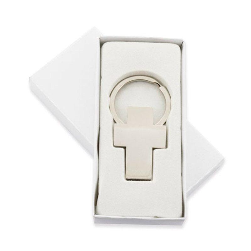 Llavero para comunión en forma de cruz. Presentado en cajita blanca.