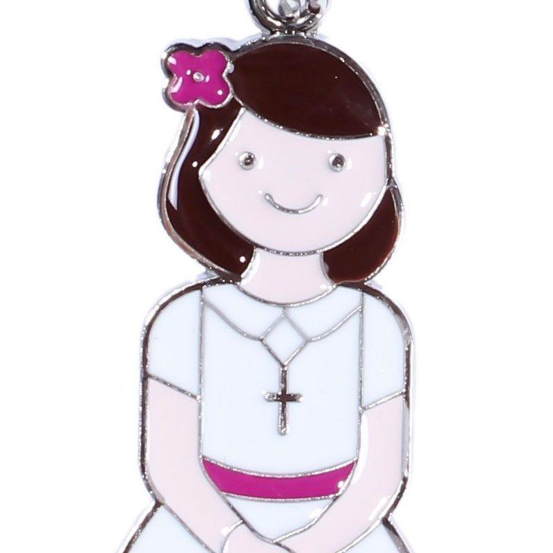 llavero para comunión vestido blanco