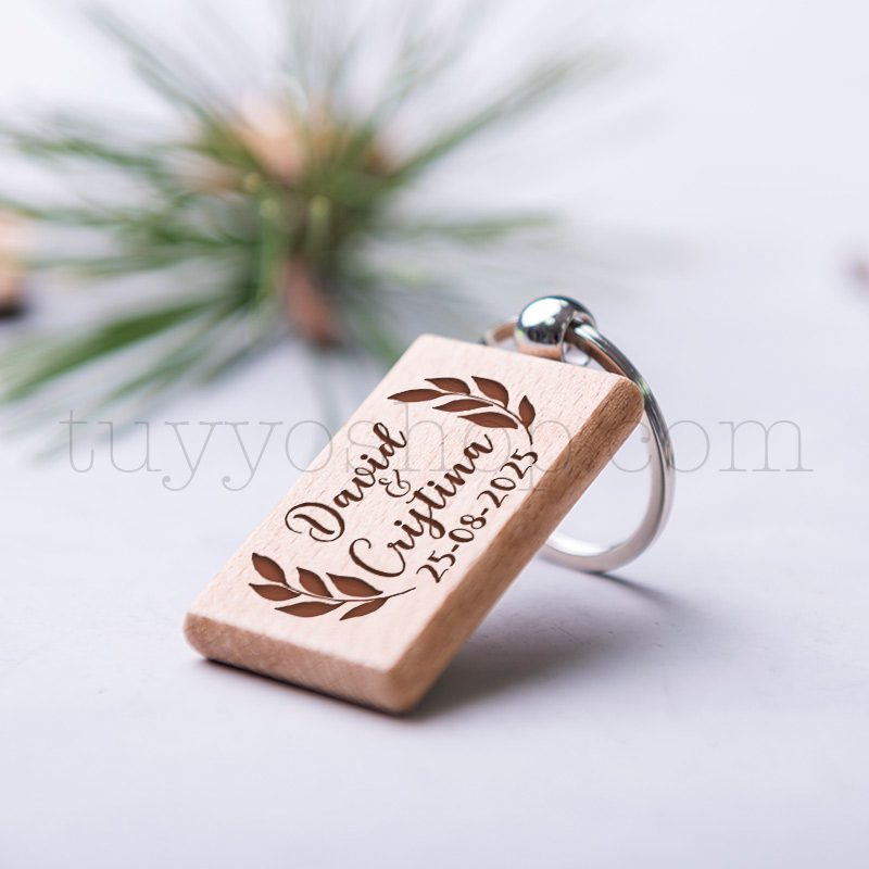 Llavero de madera personalizado, grabado láser, floral, 5x3cm llavero grabado boda madera floral 3