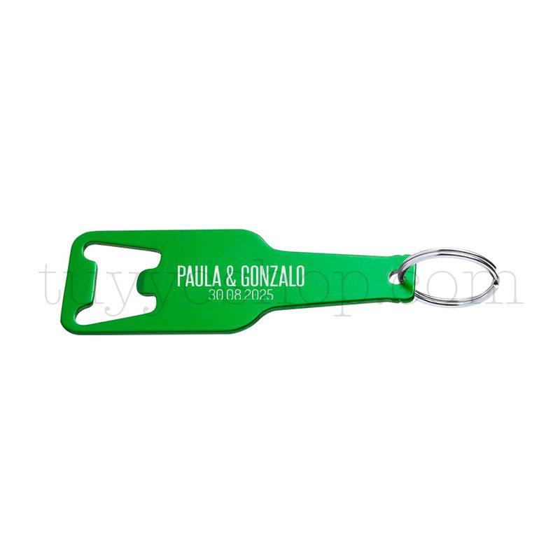 Abridor en aluminio con forma de botellín, en varios colores, personalizable llavero lacado para boda color verde tipo3