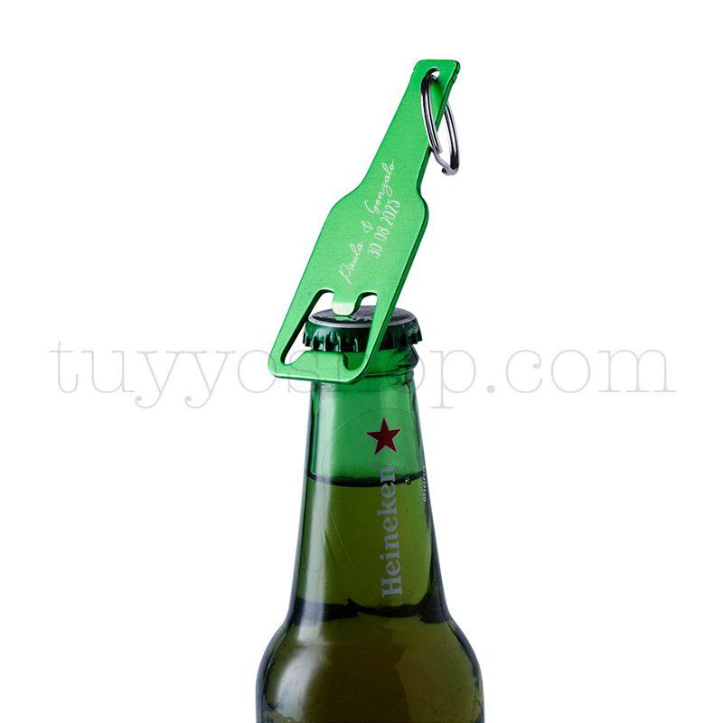 Abridor en aluminio con forma de botellín, en varios colores, personalizable llavero lacado para boda personalizado