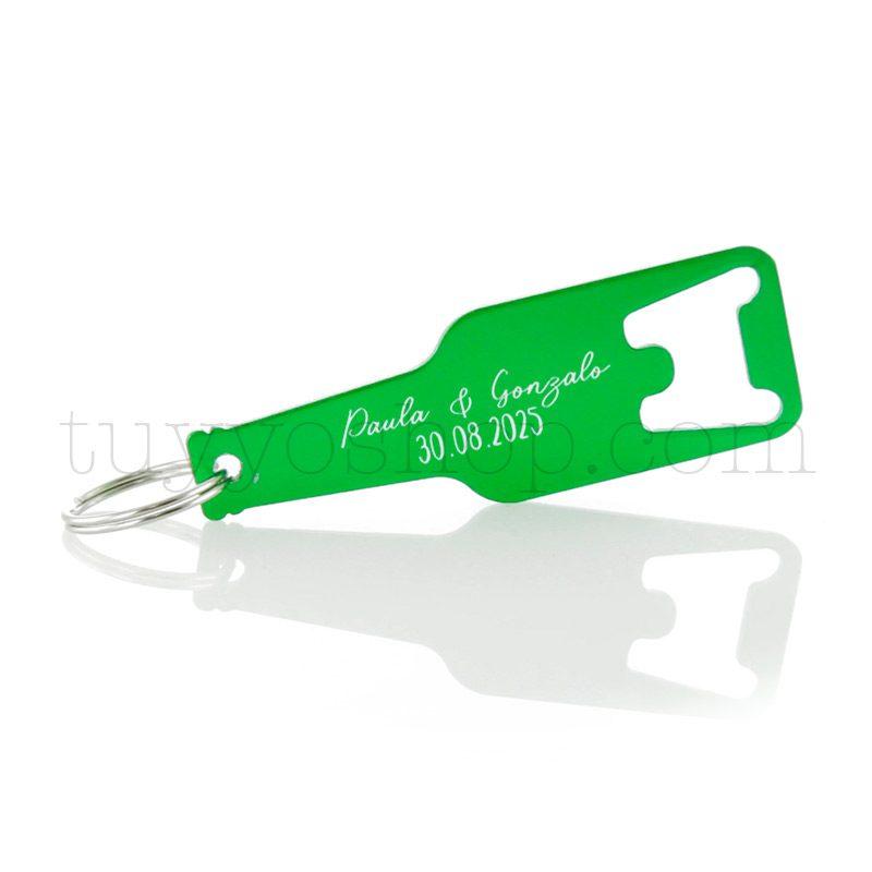 Abridor en aluminio con forma de botellín, en varios colores, personalizable llavero lacado para boda personalizado2
