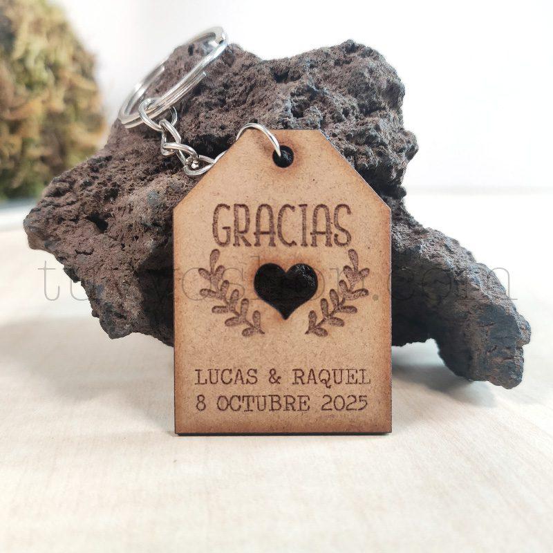 Ultimos regalos para invitados añadidos llavero madera boda modelo vintage
