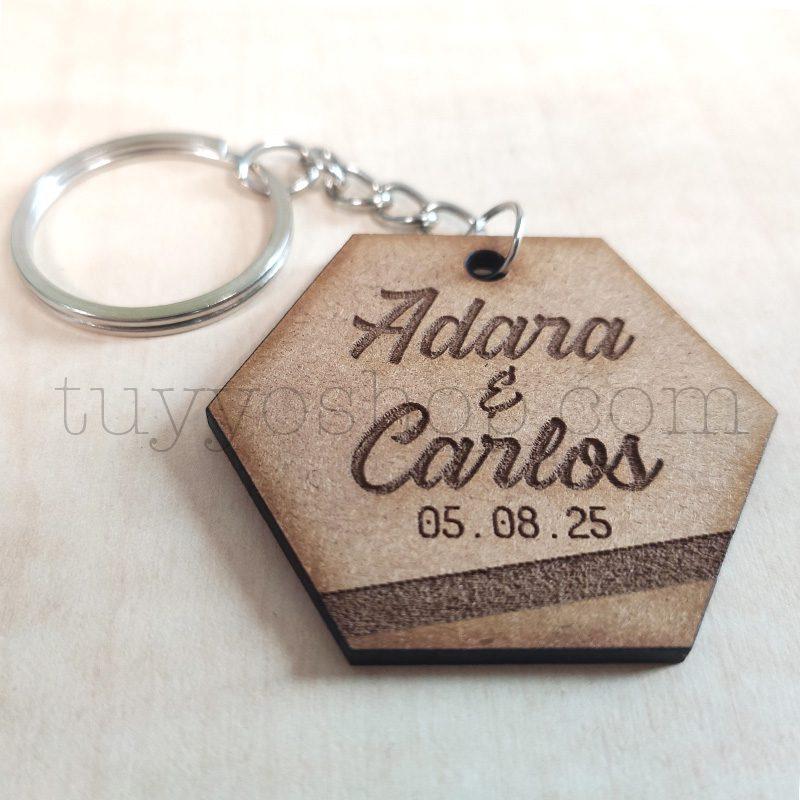 Llavero personalizado para boda, DM, modelo hexagonal, 5x4cm llavero para boda modelo