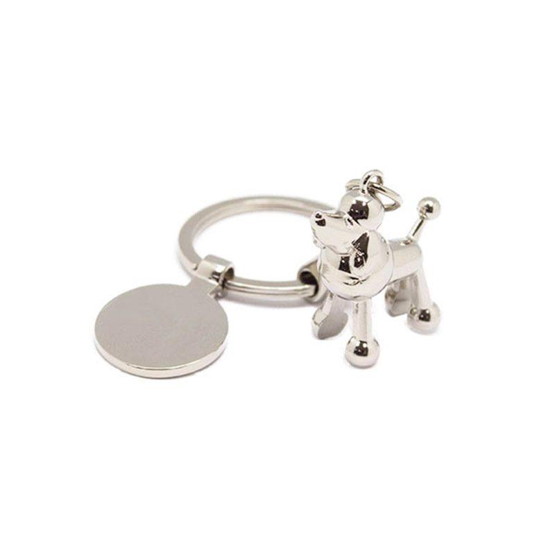Llavero metálico para boda. Modelo puppy. Incluye chapita.