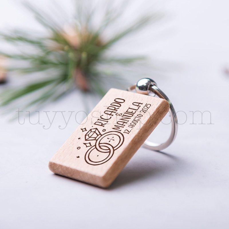Llavero de madera personalizado, grabado láser, alianzas, 5x3cm llavero personalizado boda modelo alianzas4