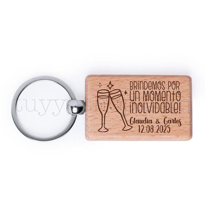 Llavero de madera personalizado, grabado láser, brindis, 5x3cm llavero personalizado boda modelo brindis2