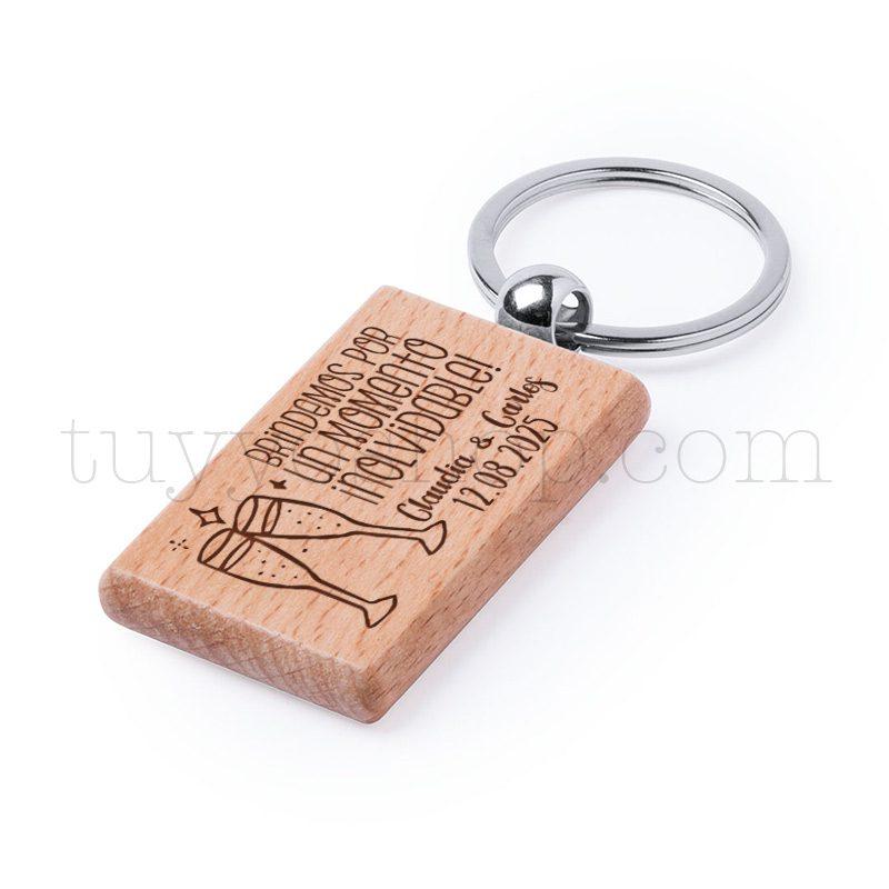 Llavero de madera personalizado, grabado láser, brindis, 5x3cm llavero personalizado boda modelo brindis3