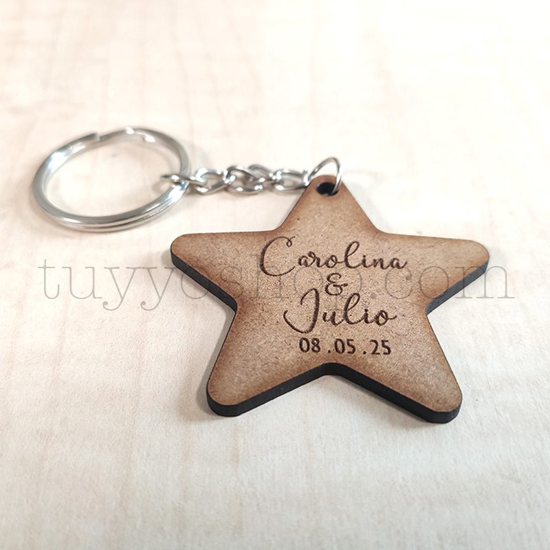 Ultimos regalos para invitados añadidos llavero personalizado para boda estrella