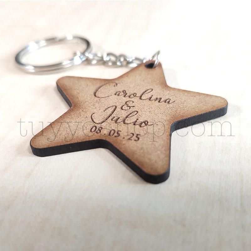 Llavero personalizado para boda, DM, estrella, 5x5cm llavero personalizado para boda estrella2