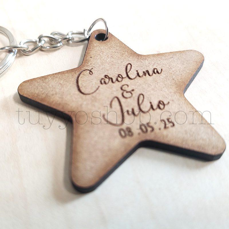 Llavero personalizado para boda, DM, estrella, 5x5cm llavero personalizado para boda estrella3