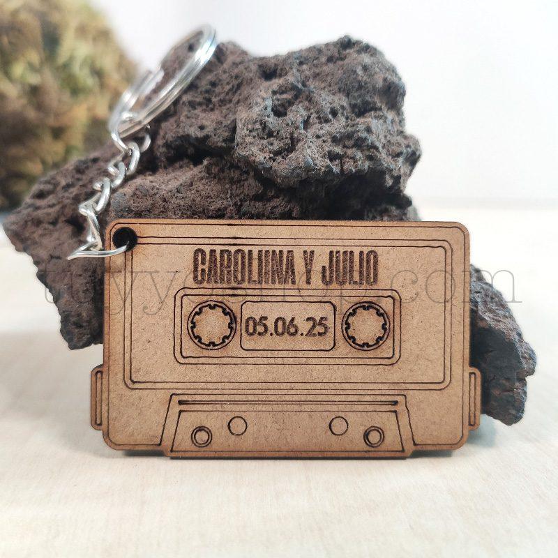 Llavero personalizado para boda, DM, modelo cassette, 3,5x5,5cm llavero personalizado para boda madera casete