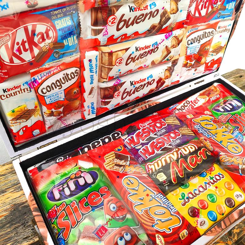 Caja/Cofre para regalo, chocolates Kinder. Formato mediano maletin golosinas mediano superior2