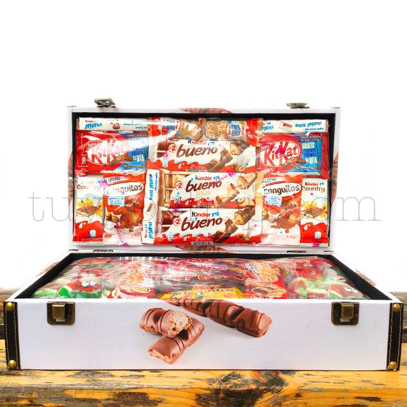 Caja/Cofre para regalo, chocolates Kinder. Formato mediano maletin golosinas mediano