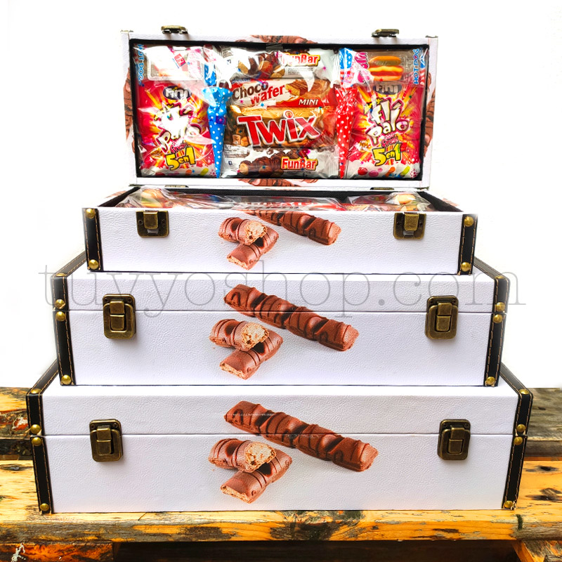 Caja/Cofre para regalo, chocolates Kinder. Formato mediano maletin golosinas tamanos