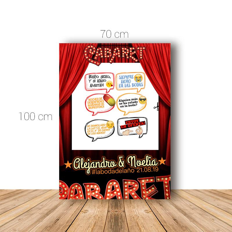 Marco para boda. 70x100cm. Modelo Cabaret. Personalizable. Incluye 6 carteles.