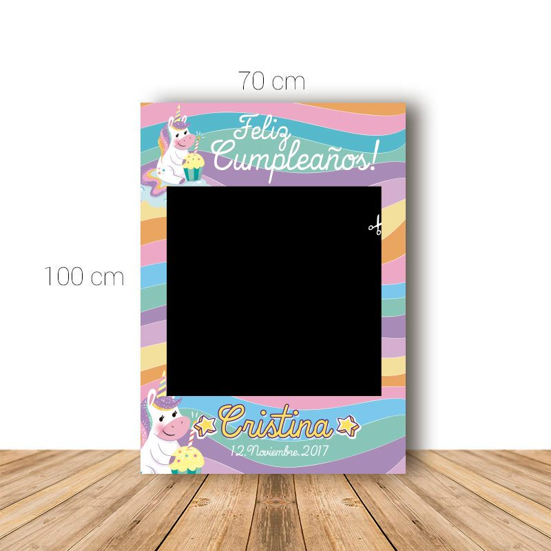 Marco para Cumpleaños. 70x100cm. Modelo unicornio con pastel