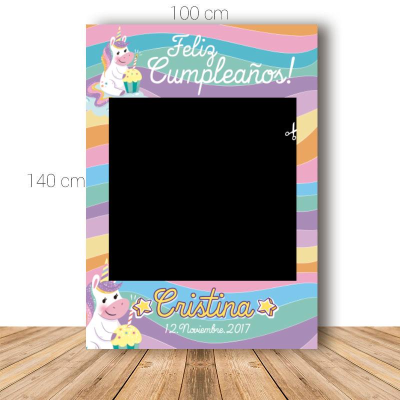 Marco para cumpleaños. 100x140cm. Modelo unicornio con pastel