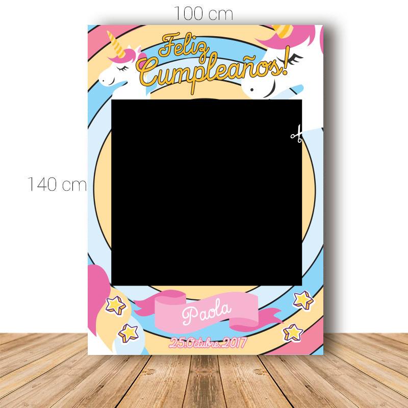 Marco para cumpleaños. 100x140cm. Modelo unicornio.
