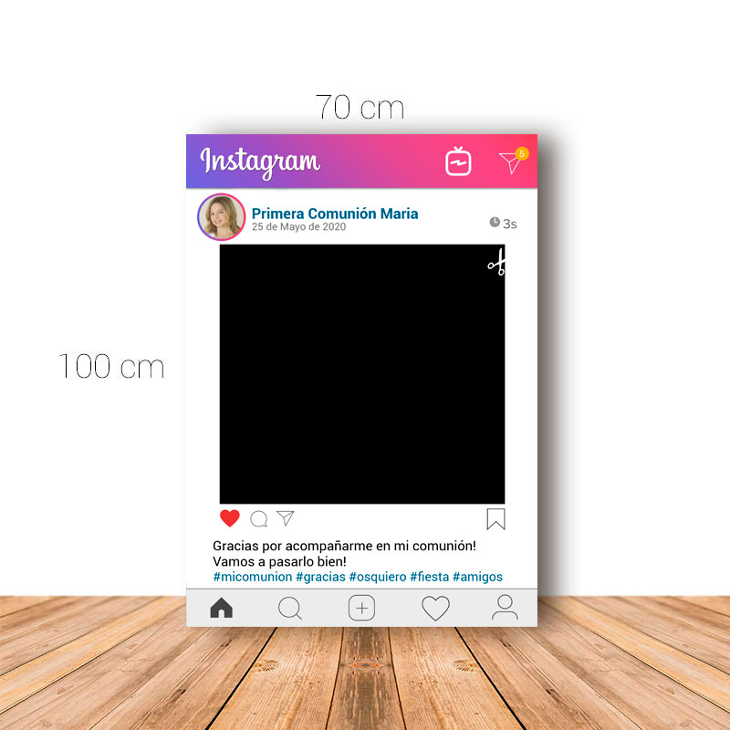 Marco para Comunión. 70x100cm. Personalizable. Modelo Instagram