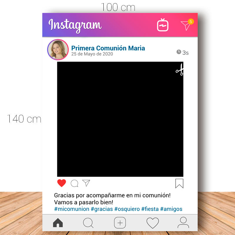 Marco para Comunión. 100x140cm. Personalizable. Modelo Instagram